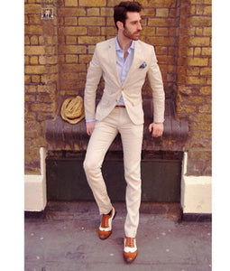 Spring Summer Men Casual Suit Trousers Two Button Blazer Groom Party Tuxedos Tailor Made C105