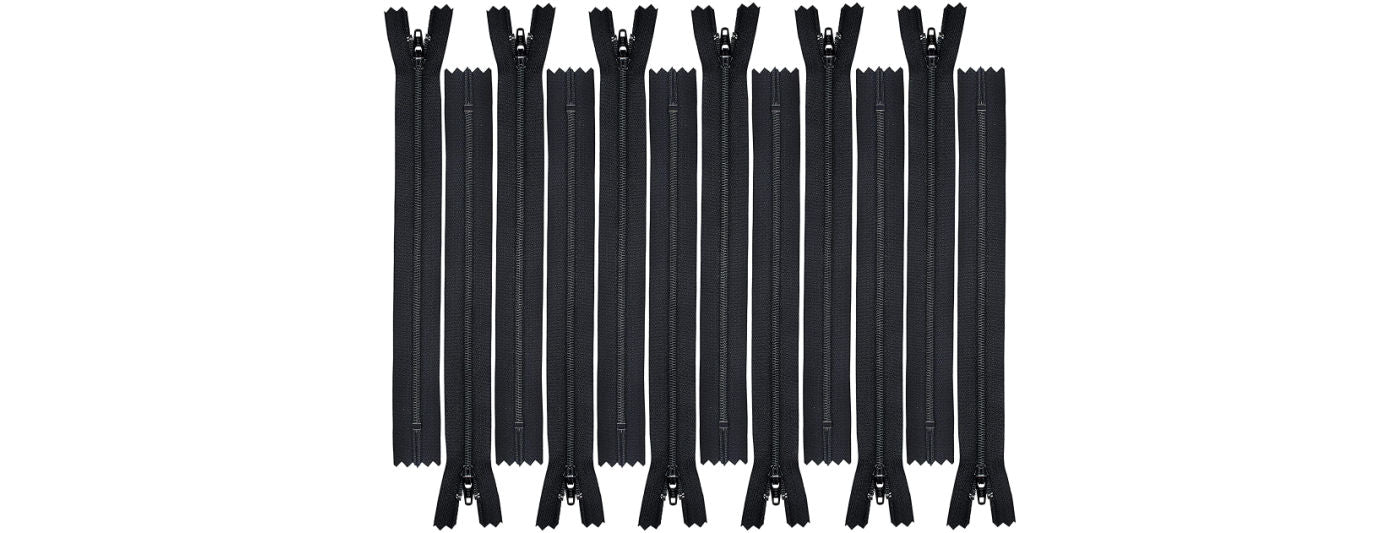 Black zippers for sewing
