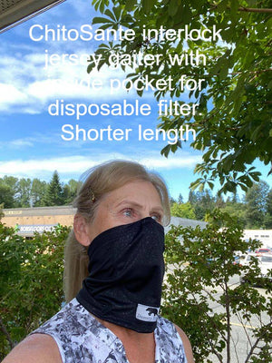 Neck Gaiter face covering has inside pocket which creates double layer, while providing a place to insert a disposable filter. Antimicrobial fabric stays fresher. These masks are cool to wear.