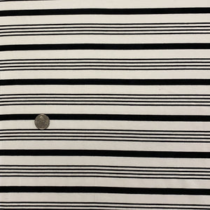 ivory with black varied stripe bamboo stretch jersey fabric