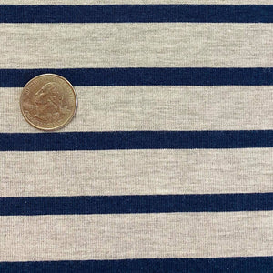 light grey with navy stripe bamboo stretch jersey fabric