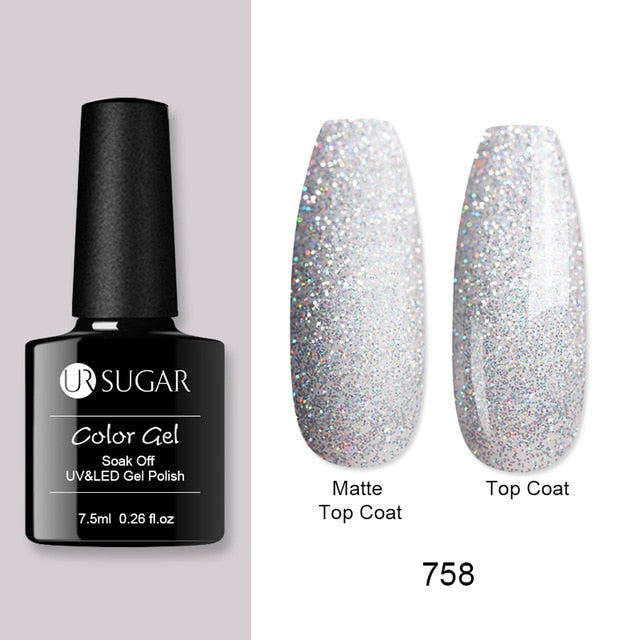 Holographic Glitter Nail Gel Polish Laser Pink Purple Pearl Shell