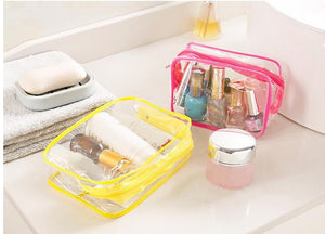 SLB Travel PVC Cosmetic Bags Transparent Clear Zipper Makeup Bags
