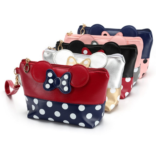 COSMETIC BAG CARTOON BOW ZIPPER MAKEUP