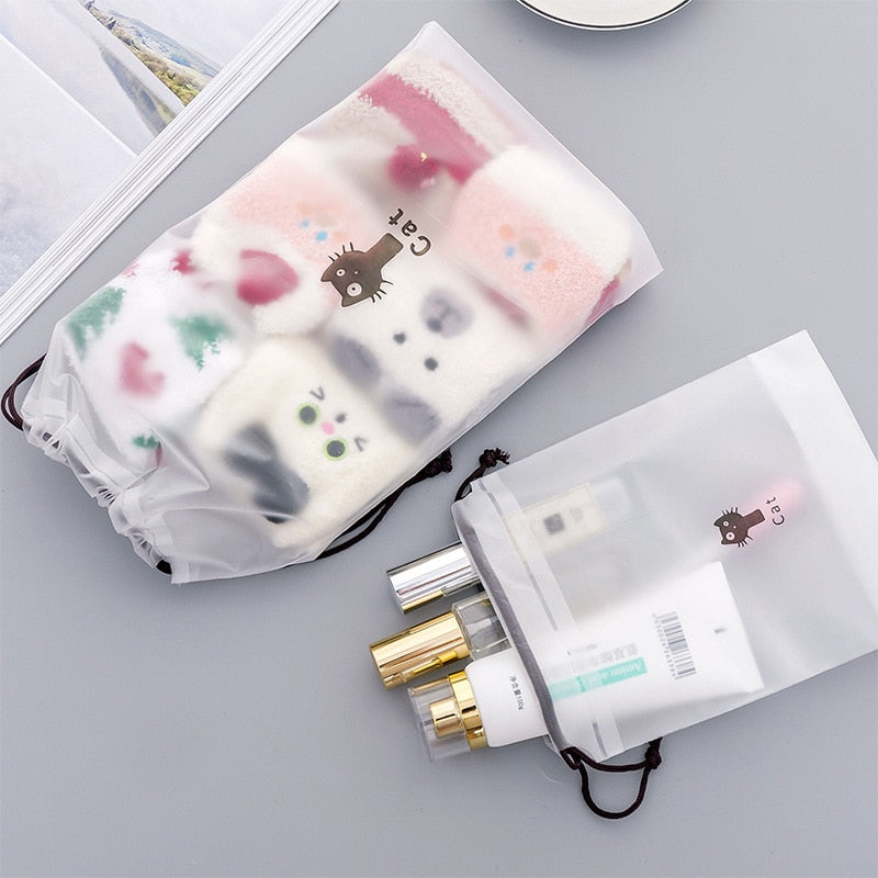 SLB Cute Cat Transparent Cosmetic Bag Travel Makeup Bag Women Drawstring Make Up Organizer