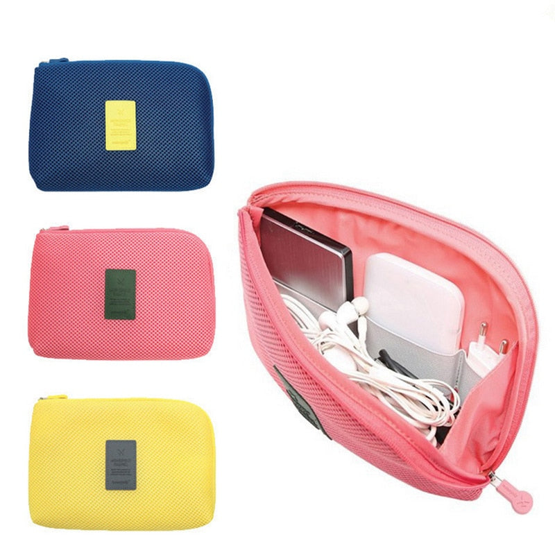 SLB Shockproof Travel Digital USB Charger Cable Earphone Case Makeup Cosmetic