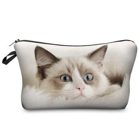 CAT PRINT COSMETIC ORGANIZER BAG