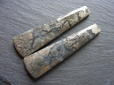 Marcasite in Quartz Long Taper Cabs - Matching Pair