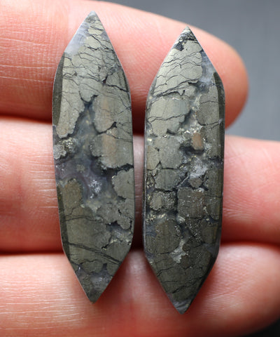 Marcasite in Agate Fancy Cabs - 2 Pack.