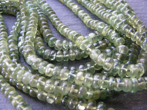 Green Apatite Smooth Rondelle Beads Strands.