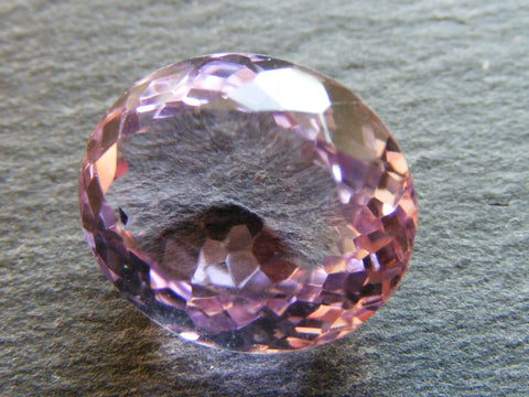 Pink Amethyst (Rose de France) Oval Faceted Gem.