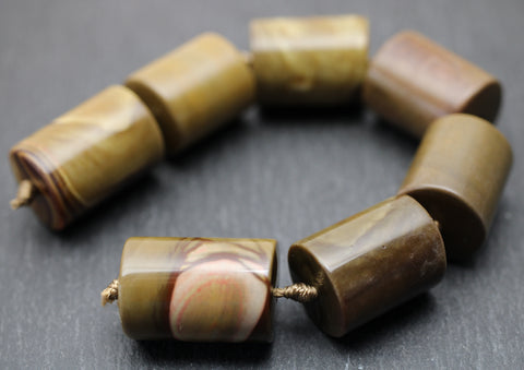 Landscape Jasper Barrel Beads