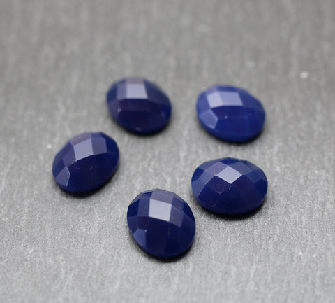 Dyed Sapphire Blue Chalcedony Oval Cabs - Chequer Cut