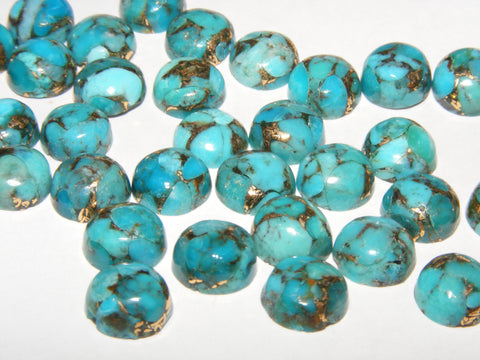 Copper Turquoise Round Cabs