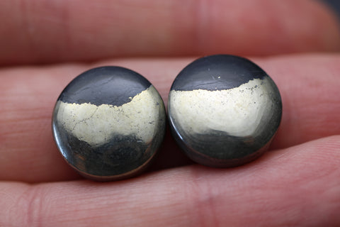 Apache Gold Round Cabs - Closely Matching Pair
