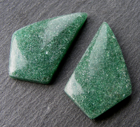 Green Aventurine Fancy Cabs - Pair