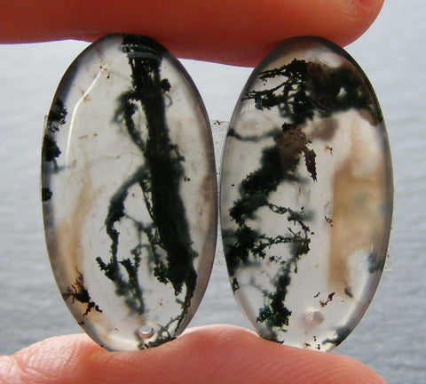 Moss Agate Oval Drilled Pendant Cabs - Pair.