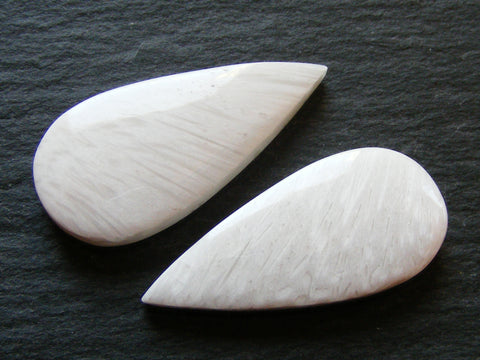 White Scolecite Pear Cabs - Matching Pair