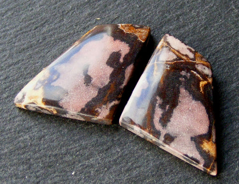 Fancy Cut Picasso Jasper Cabs - Matching Pair