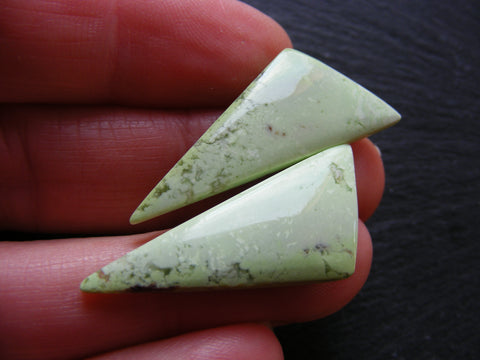 Lemon Chrysoprase Triangular Cabs - Matching Pair