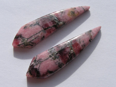 Rhodonite Fancy Cabs - Pair