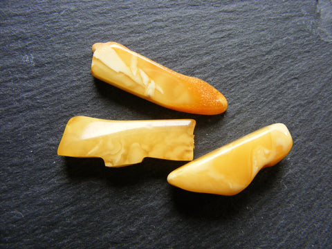 Vintage Butterscotch Amber Free Form Slice Cabs - 3 Pack