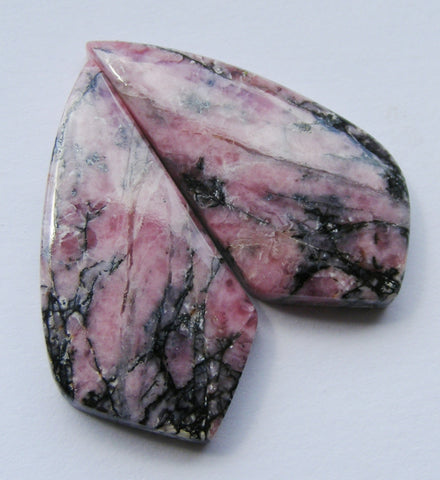 Rhodonite Fancy Cabs - Matched Pair