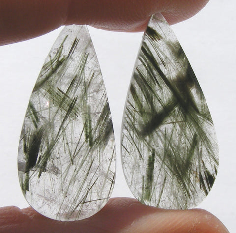 Green Rutile Quartz Pear Cabs - Matching Pair