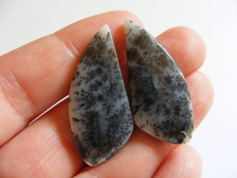 Dendritic Opal Fancy Cabs - Matching Pair