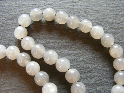Silver Sunstone Round Beads Strand - AAA Grade