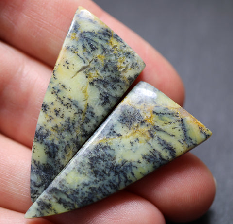 Dendritic Yellow Opal Fancy Cabs - Matching Pair
