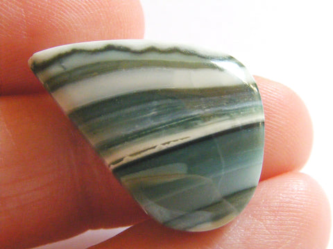 Green Banded Agate Fancy Cab