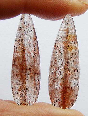 Cherry Quartz Pear Cabs - Matched Pair