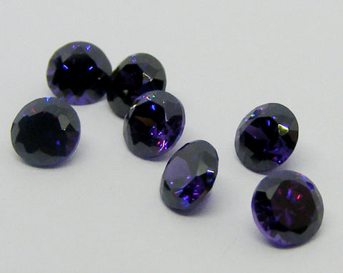 Cubic Zirconium - CZ - Amethyst Purple - Round Faceted Gems - Vintage