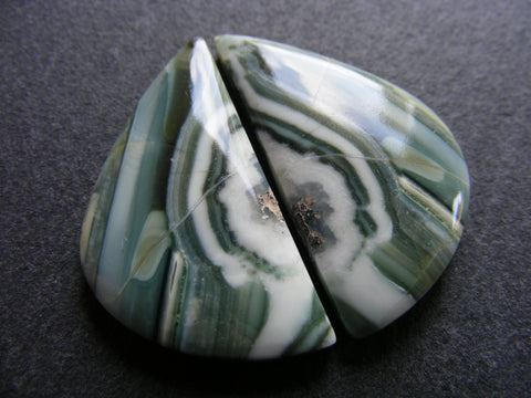 Green Banded Agate Fancy Cabs - Matching Pair