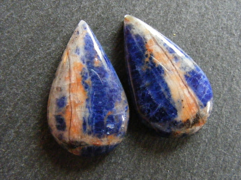 Sodalite Pear Cabs - Matching Pair