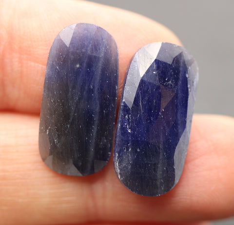 Blue Sapphire Faceted Oval-ish Cabs - Matching Pair.