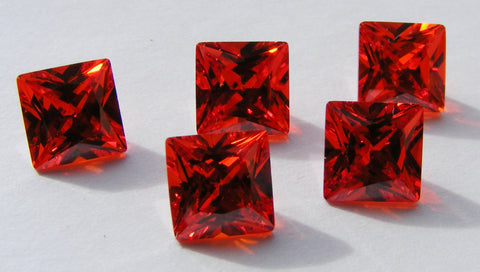 Cubic Zirconium - CZ - Orange - Princess/Square Faceted Gems - Vintage