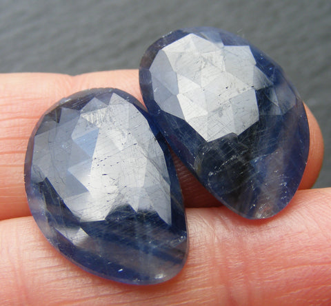 Blue Sapphire Faceted Free-form Cabs - Pair