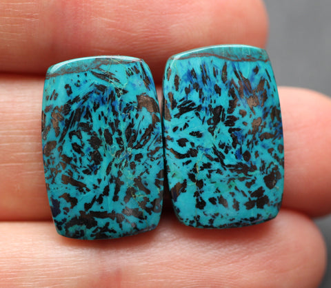 Top Grade Azurite Rectangular Cabs - Matched Pair