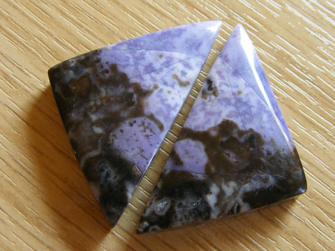 Tiffany Stone Triangular Cabs - Matching Pair