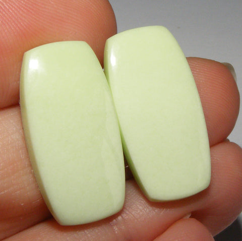 Lemon Chrysoprase Rectangular Cabs - Matched Pair