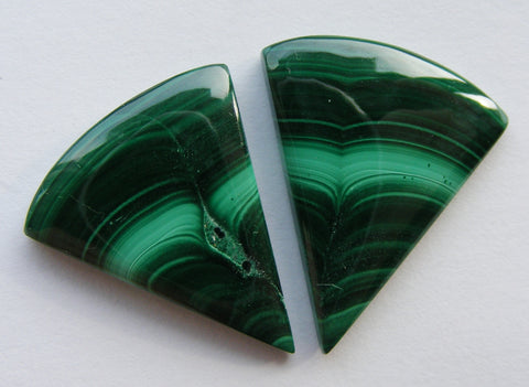 Malachite Fancy Triangular Cabs - Matching Pair