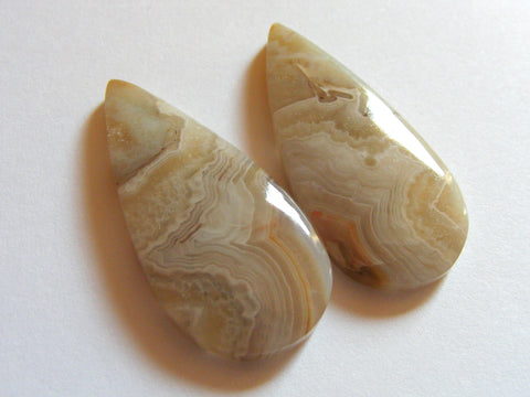 Crazy Lace Agate Pear Cabs - Matching Pair