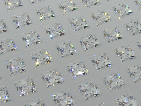 Cubic Zirconium - CZ - White Princess/Square Faceted Gems - by Signity®