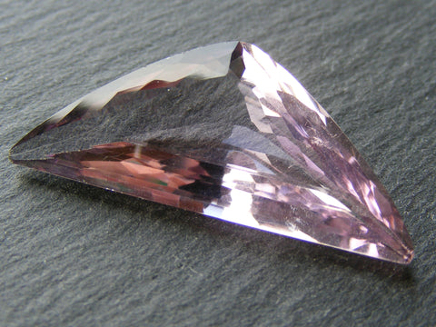 Pink Amethyst Triangular Faceted Gem.
