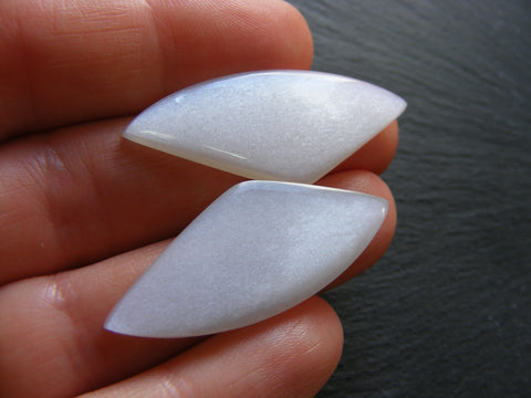 White Moonstone Fancy Cabs - Matching Pair