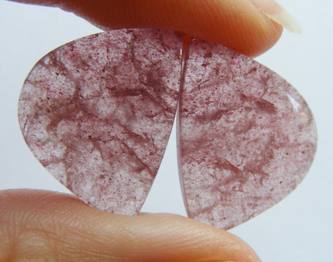 Strawberry Quartz Fancy Cabs - Matching Pair