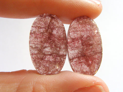 Gorgeous Strawberry Quartz Oval Cabs - Matching Pair