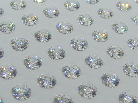 Cubic Zirconium - CZ - White Round Faceted Gems - by Signity®